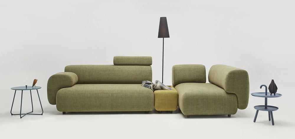 Mist - Meble do salonu - kolekcja nowoczesnych tapicerowanych mebli modułowych z gazetownikiem i ładowarką indukcyjną