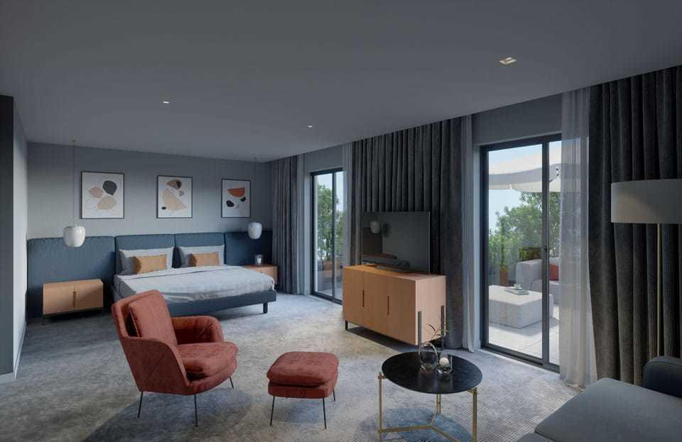 Hotel rooms - Soho - modern armchair with ottoman