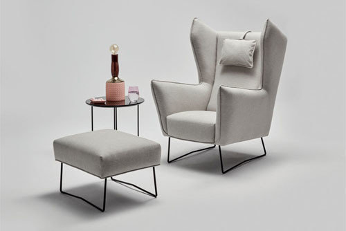 Brooklyn - living room furniture - Wingback Chair with ottoman