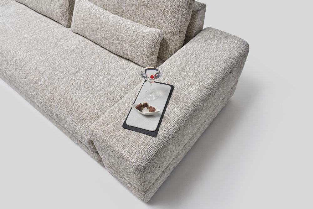 narożnik z funkcją spania - kolekcja modułowych mebli tapicerowanych z ładowarką indukcyjną Columbus