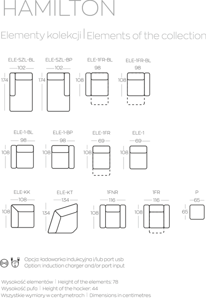 Kolekcja mebli Hamilton - elementy kolekcji