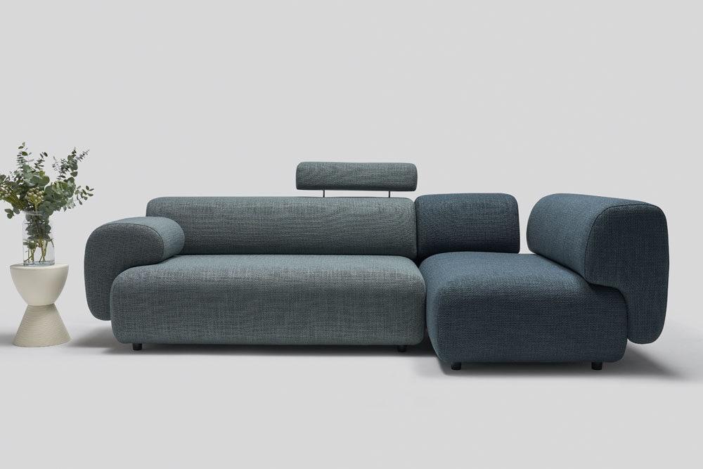 Mist - wypoczynki do salonu - kolekcja nowoczesnych tapicerowanych mebli modułowych z gazetownikiem i ładowarką indukcyjną