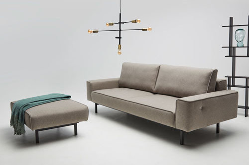 Oslo - living room furniture - modern sofa with sleeping function, ottoman and optional usb charger