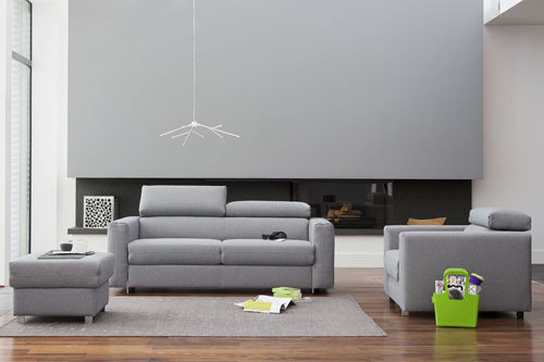 Palermo - living room furniture - modern modular sofa with sleeping function, pouf and optional usb charger